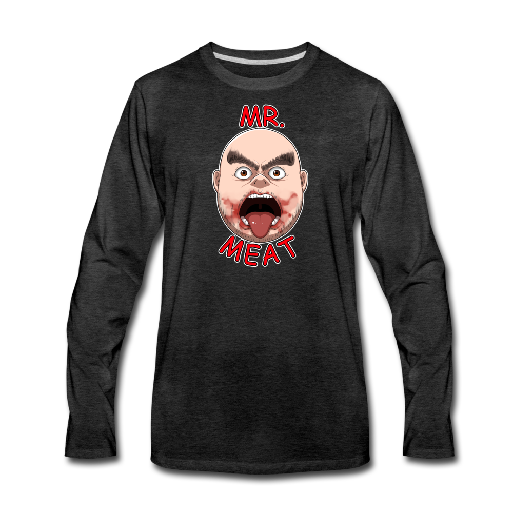 Mr. Meat Meathead Long-Sleeve T-Shirt (Mens) - charcoal gray