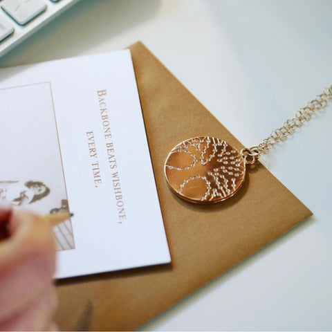 18k yellow gold tree of life locket and quote