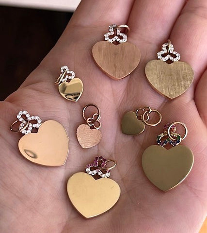 18k gold diamond and gemstone hidden heart charms