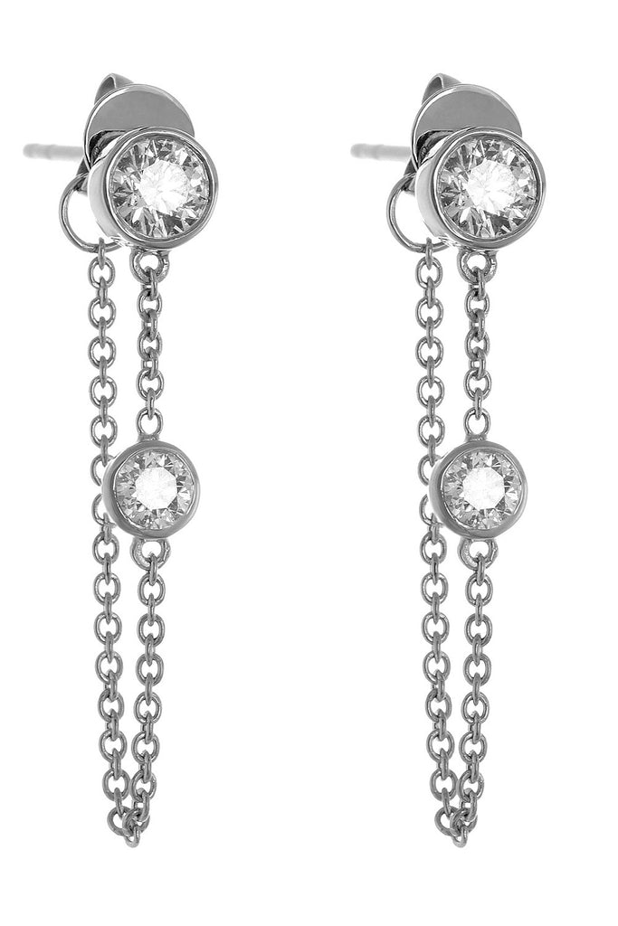 deluxe white gold classic chain earrings