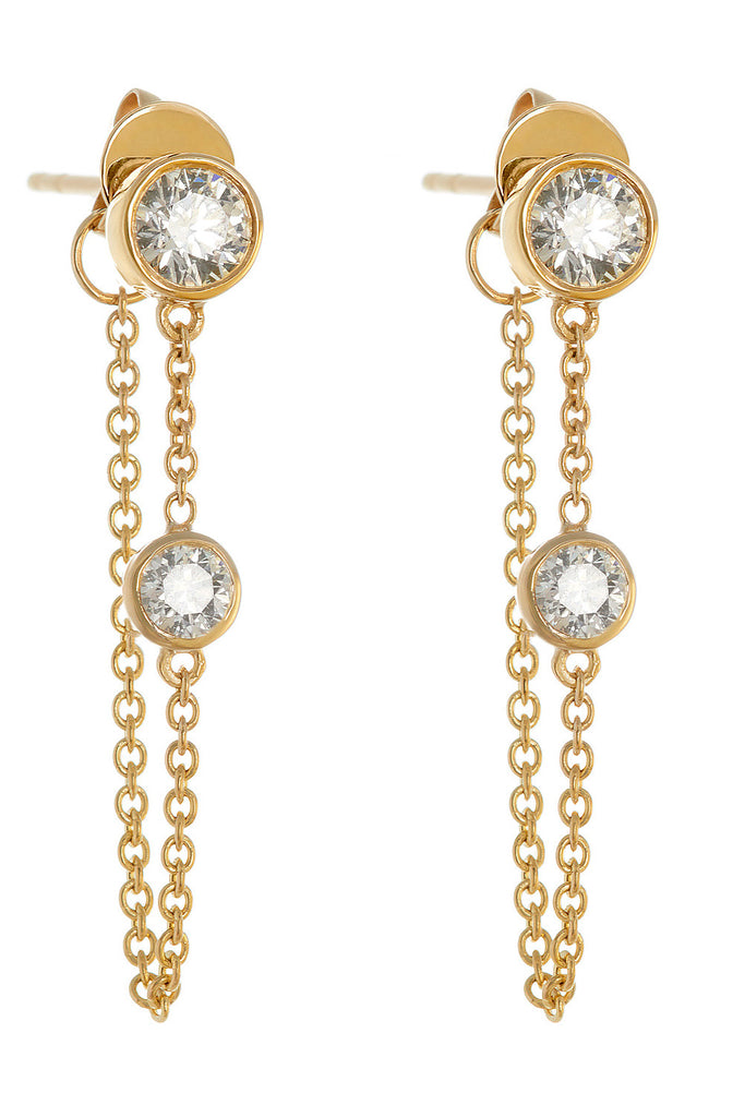 deluxe yellow gold classic chain earrings