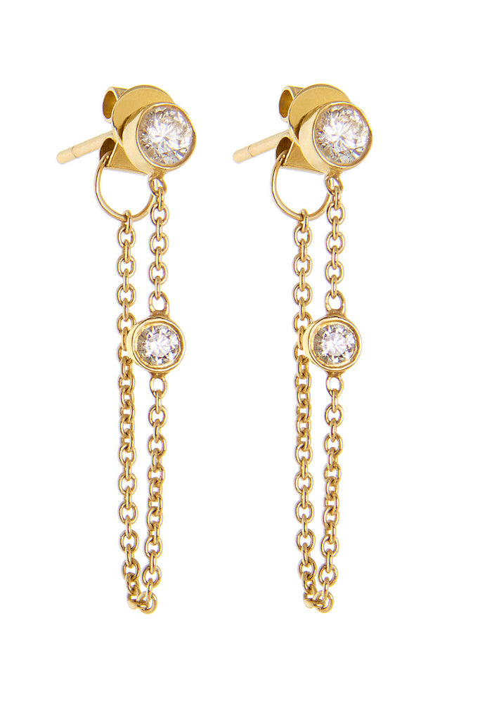 yellow gold classic chain earrings