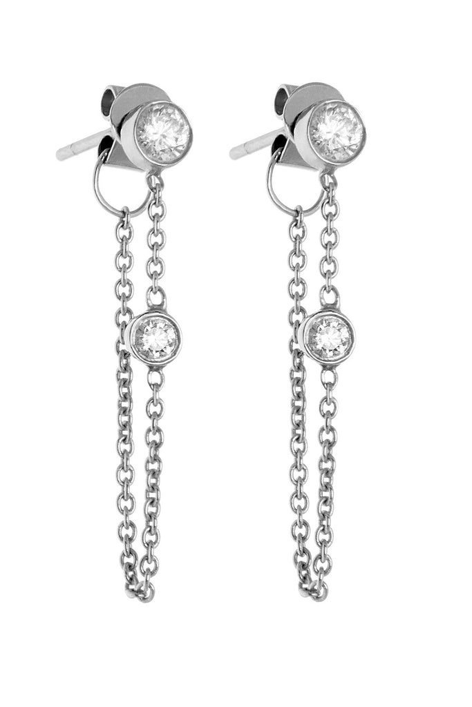 white gold classic chain earrings