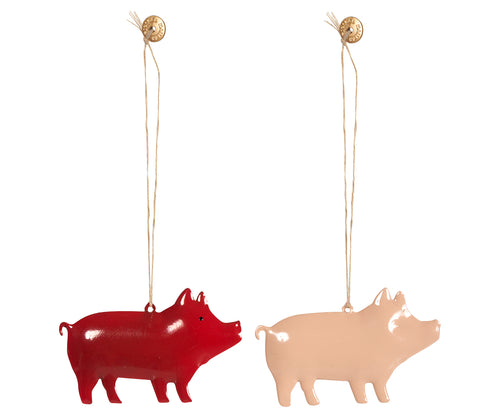 Maileg | Metal Pig Ornaments - Set of - 2 Red and Pink-Scandikid