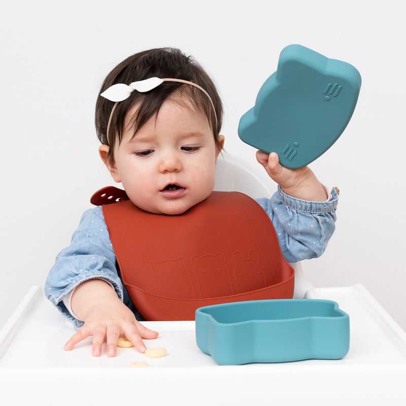 We Might Be Tiny | Catchie Bibs Rust + Beige (2 Pack)-Scandikid
