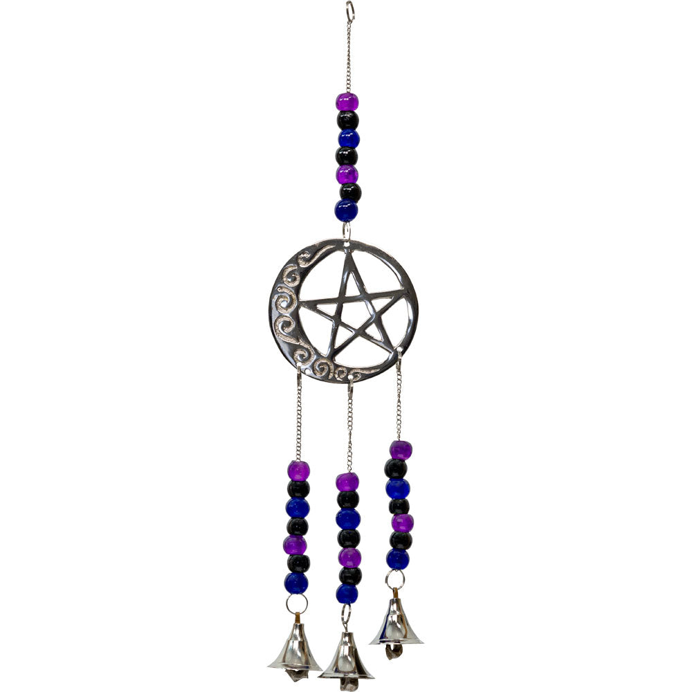 Beaded brass bell chimes with pentacle and crescent moon