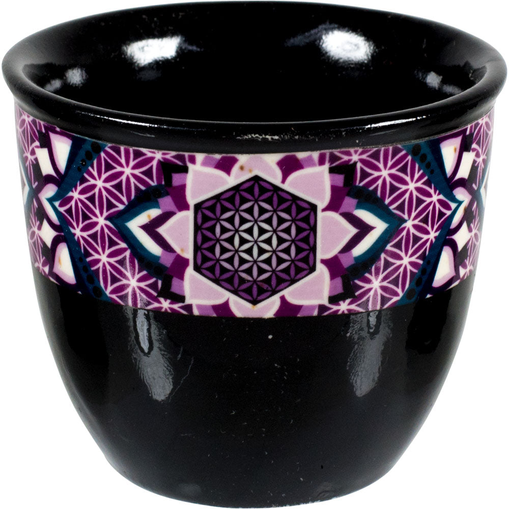 Ceramic smudge pot adorned with a Flower of Life pattern
