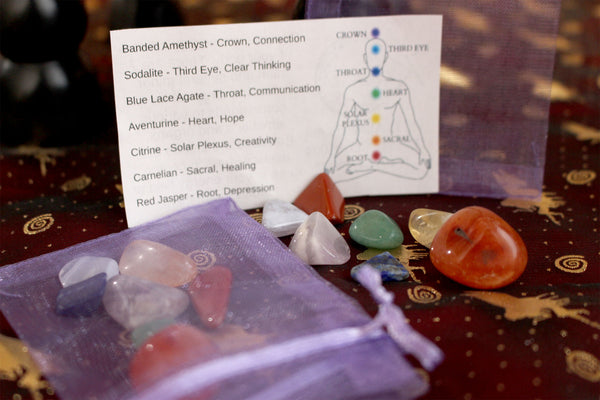 Chakra Stone Bags with information card