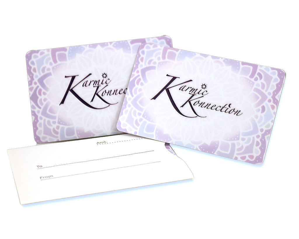 Karmic Konnection physical gift cards with sleeve