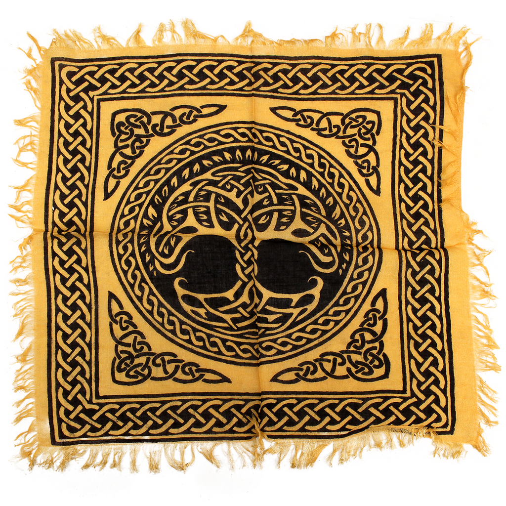 tree of life altar cloth yellow 18x18