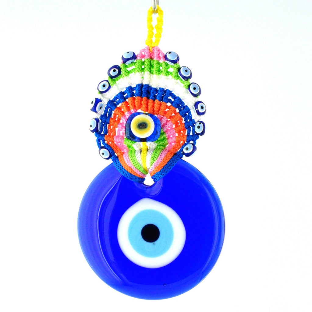 macrame rainbow peacock evil eye