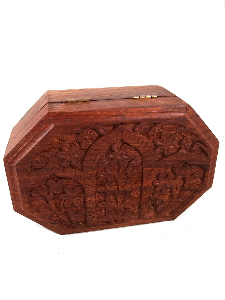 floral wood box octagon