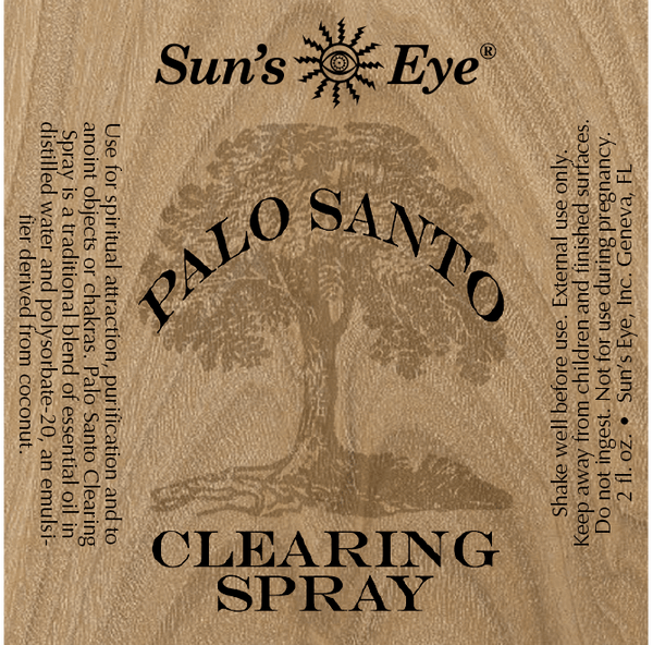 Palo Santo Clearing Spray label