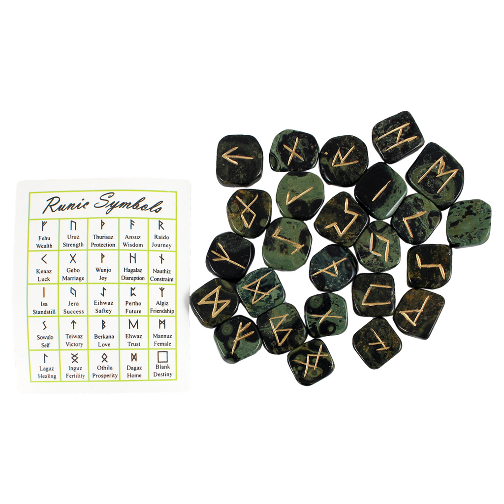 Set of 25 Kambaba Jasper runes and Runic Symbols key