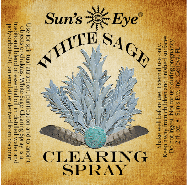 Sun's Eye White Sage Clearing Spray label