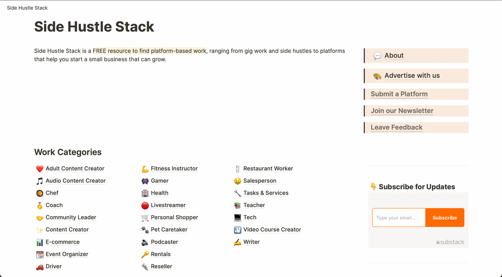 Sidehustle Stack is a GREAT collection of resources for anyone building their own business, especially content creators.