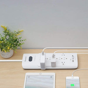 Power Bar with Surge Protector - White