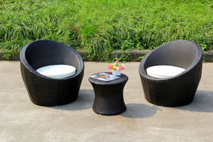Barrell 3 Piece Rattan Set With Cushions