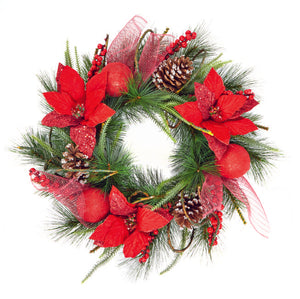 60cm Red Poinsettia Wreath