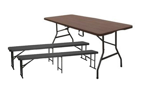 6ft Folding Bench & Table Set