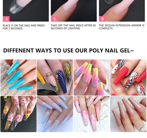 NO AIR DRY - Polygel has no time limit when it comes to air drying, which gives you unlimited time to extend your nails into your ideal shape as the product hardens only when cured under a LED lamp.