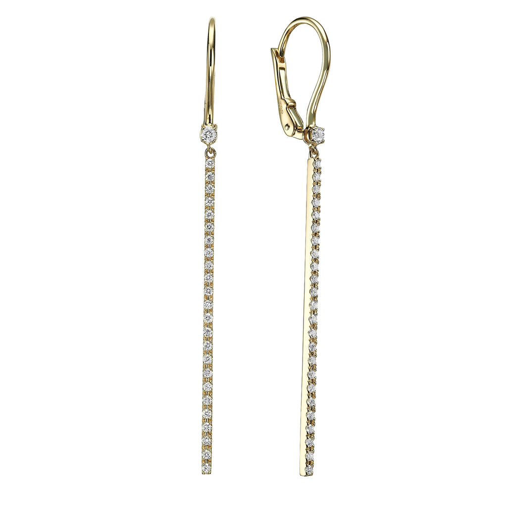Diamond bar earrings 18K yellow gold