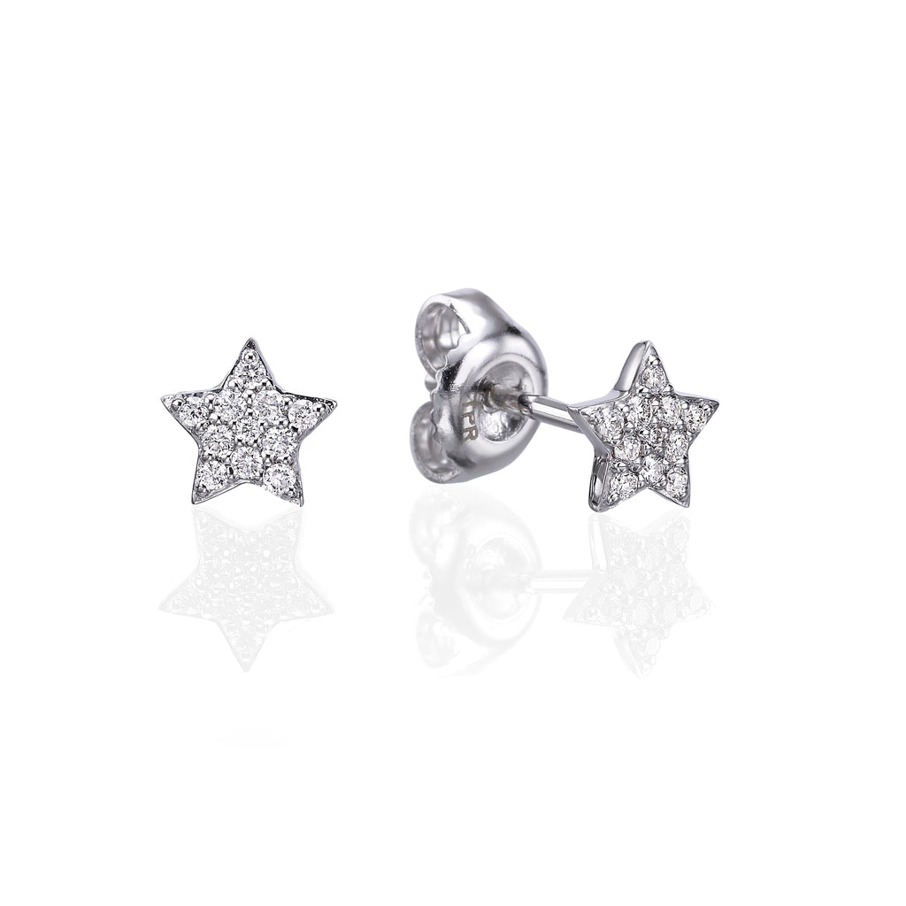 Diamond Stars Earrings white gold 18K