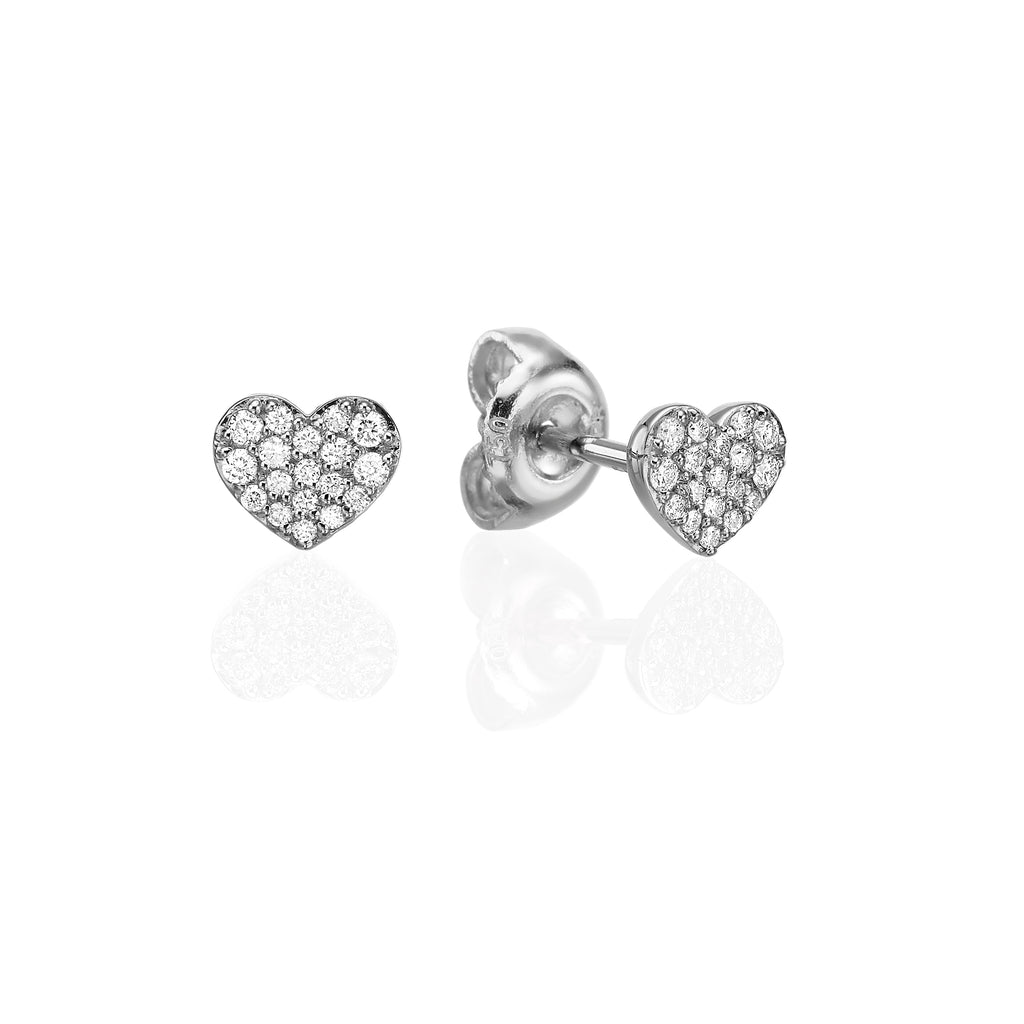 Pavé Heart Stud Earrings white gold 18K