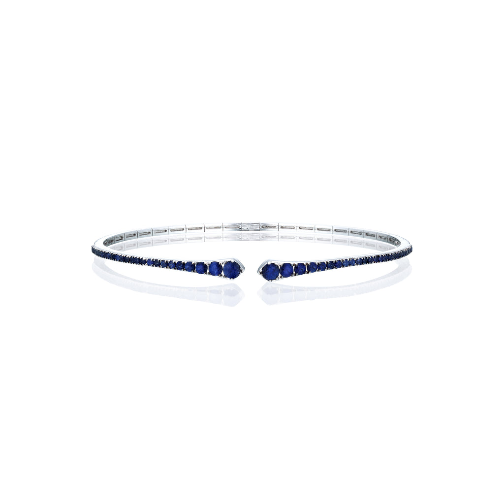 Sapphire bangle white gold fornt view
