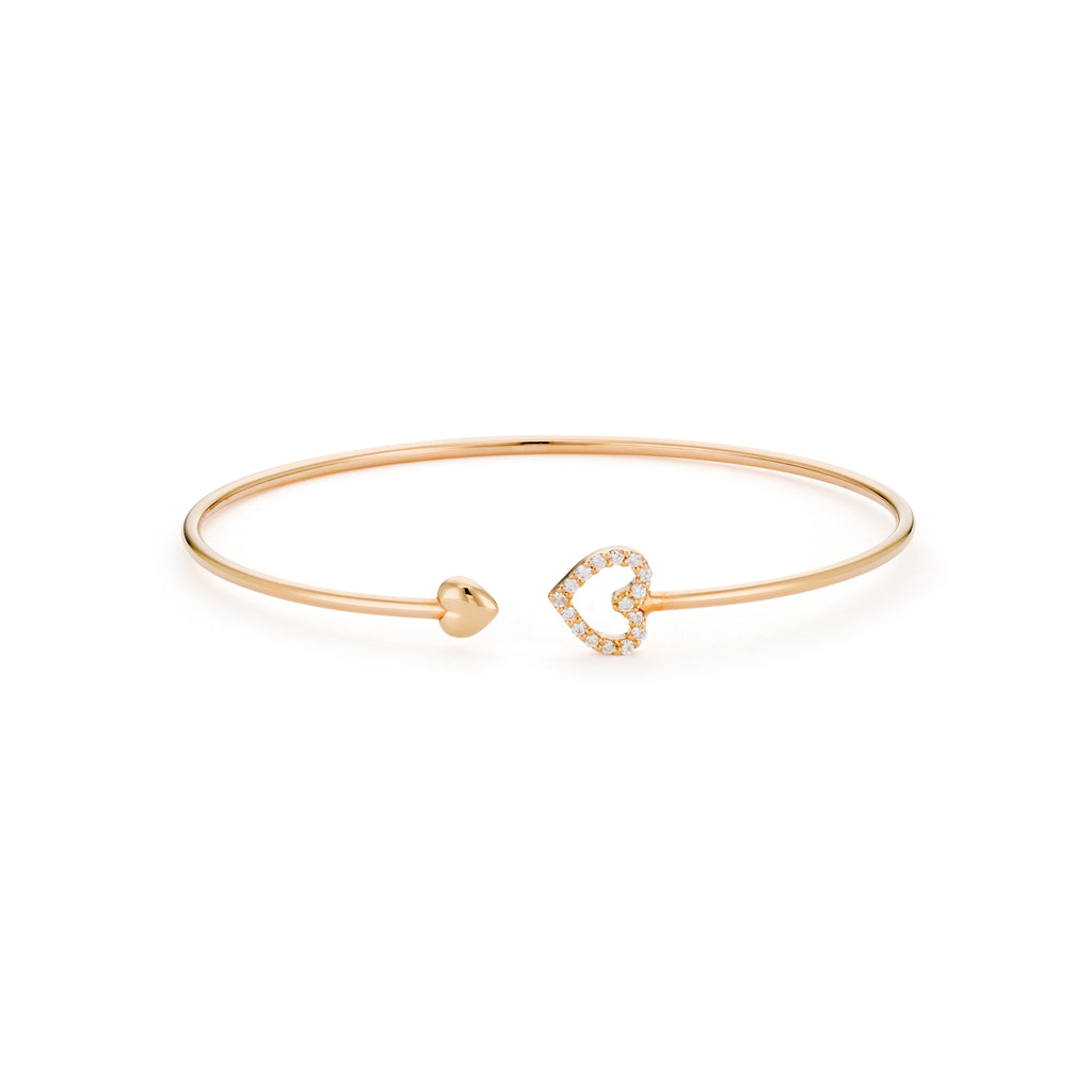 rose gold diamond heart bangle