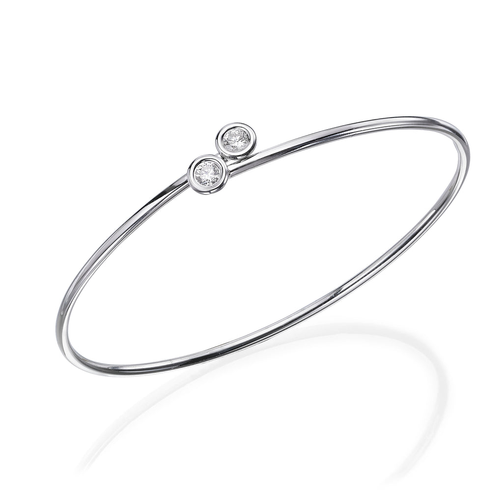 Diamond Endcap Flexible Bangle white gold 18K