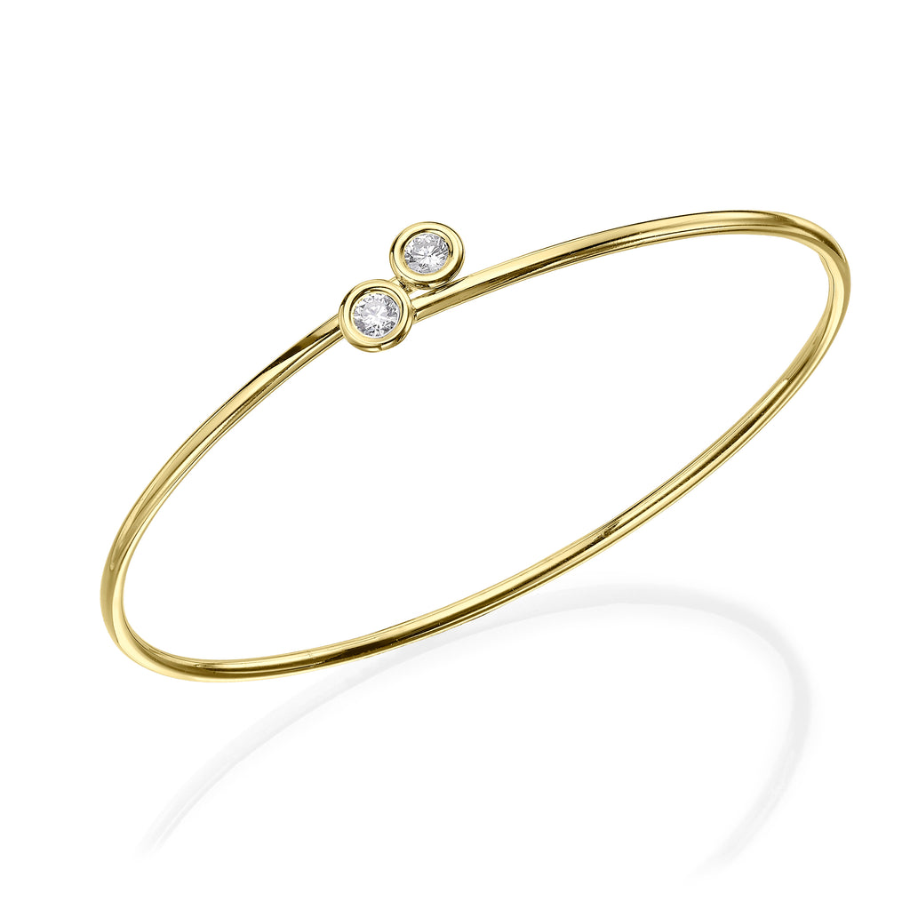 Diamond Endcap Flexible Bangle yellow gold 18K