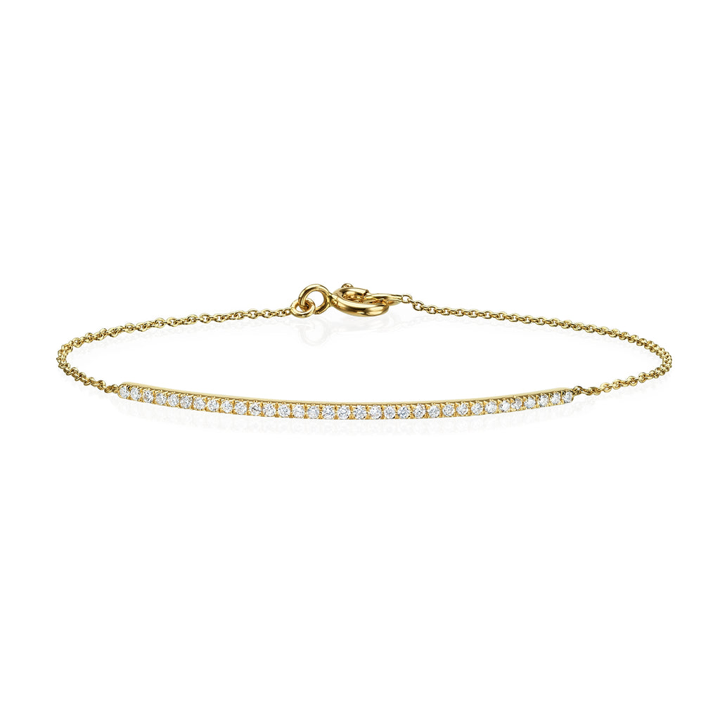 Diamond bar bracelet yellow gold 18K