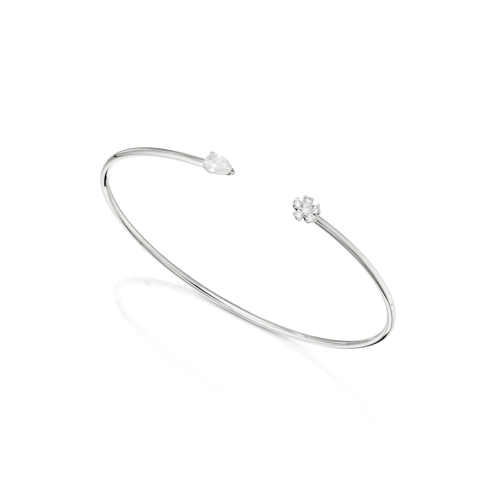 Pear shape diamond and diamond flower bangle