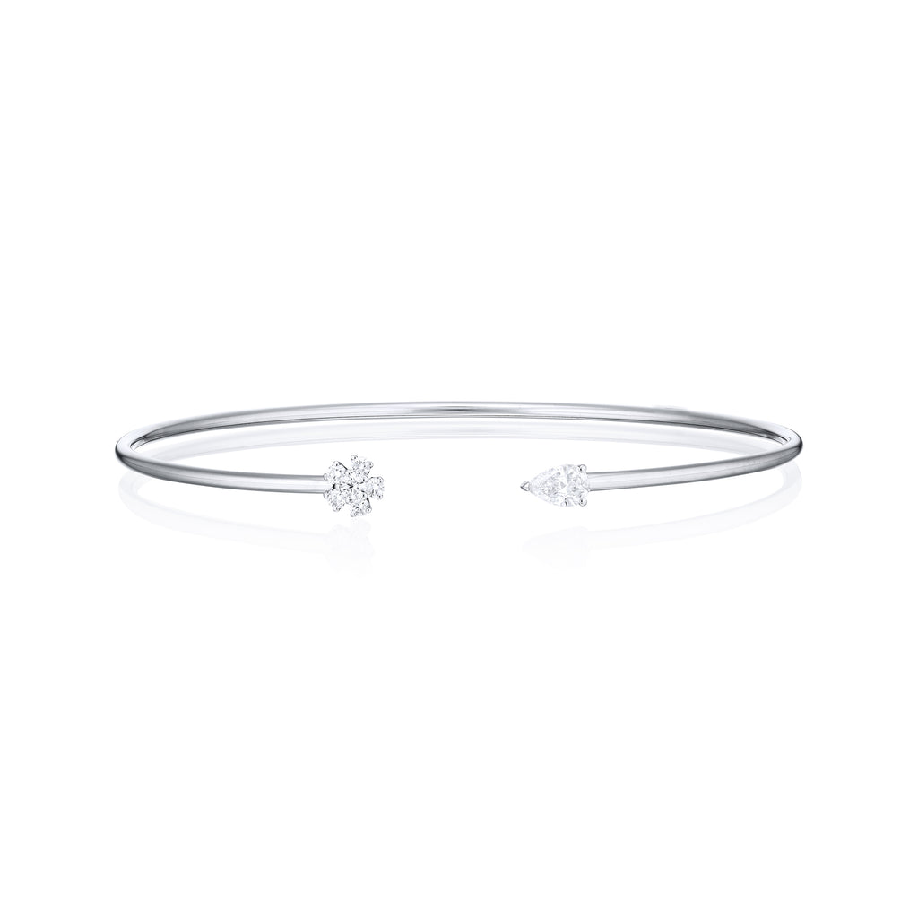Pear shape diamond and diamond flower bangle front