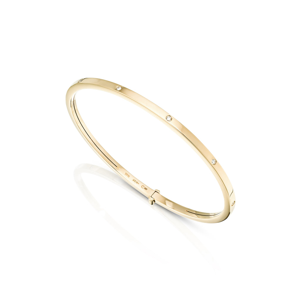 rose gold rigid diamond bangle