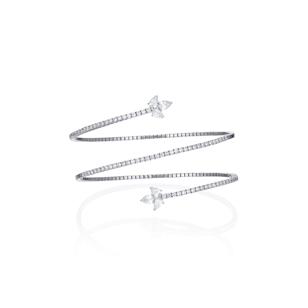Spiral Diamond Bangle with pear shape diamonds