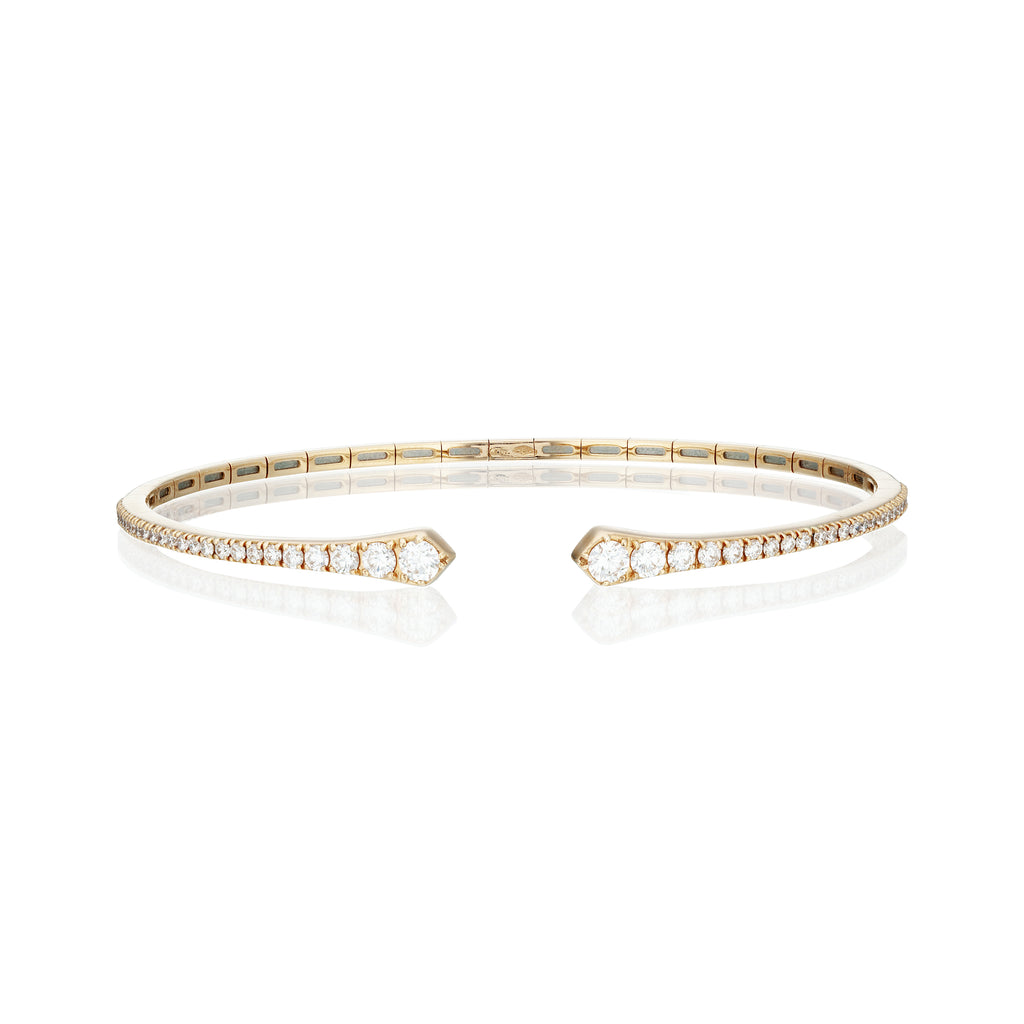 open diamond rose gold bangle front view