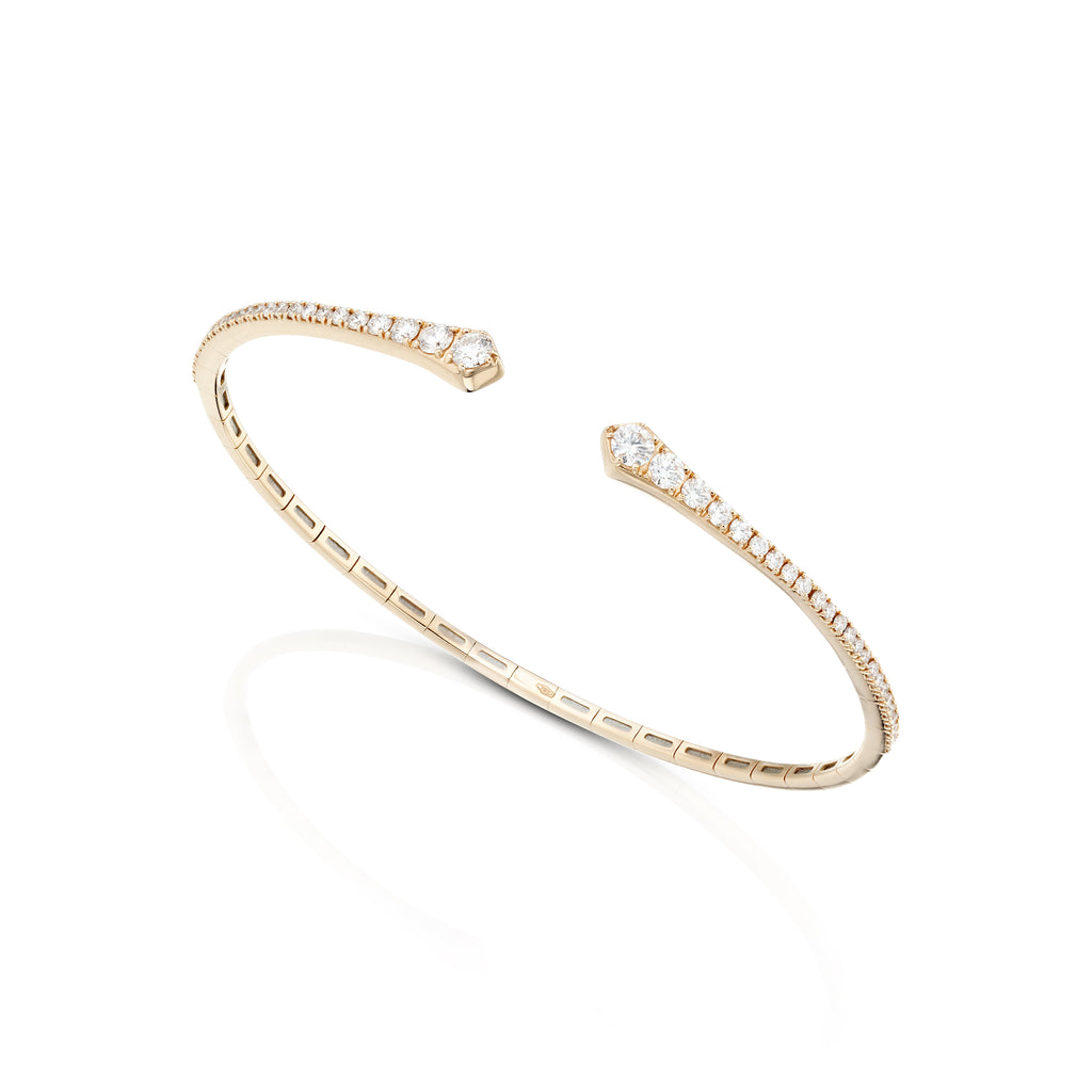 open diamond rose gold bangle