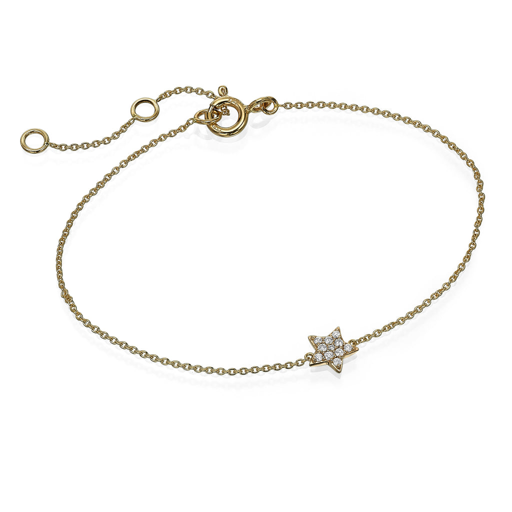 diamond star gold bracelet