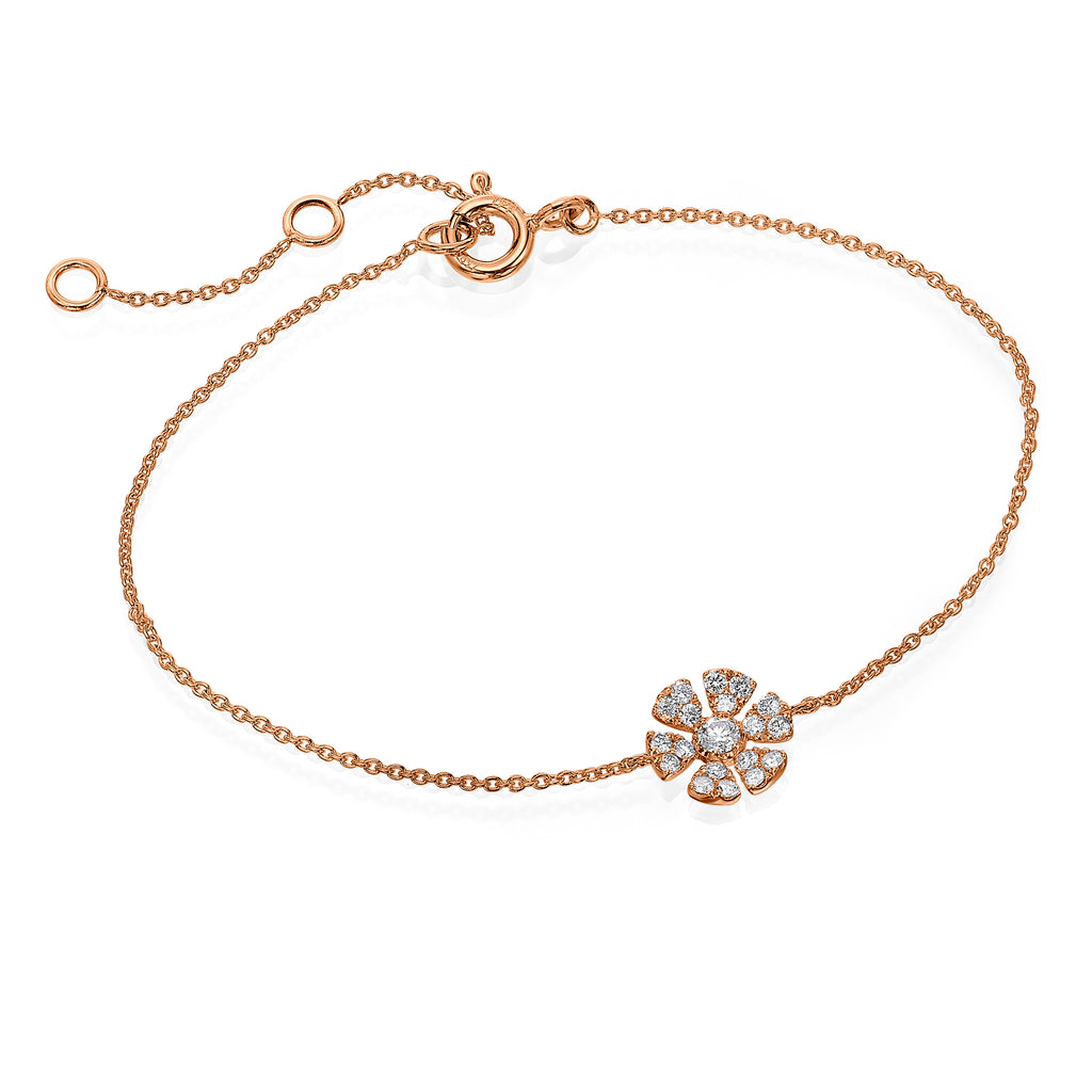 Diamond Flower Bracelet rose gold 18K