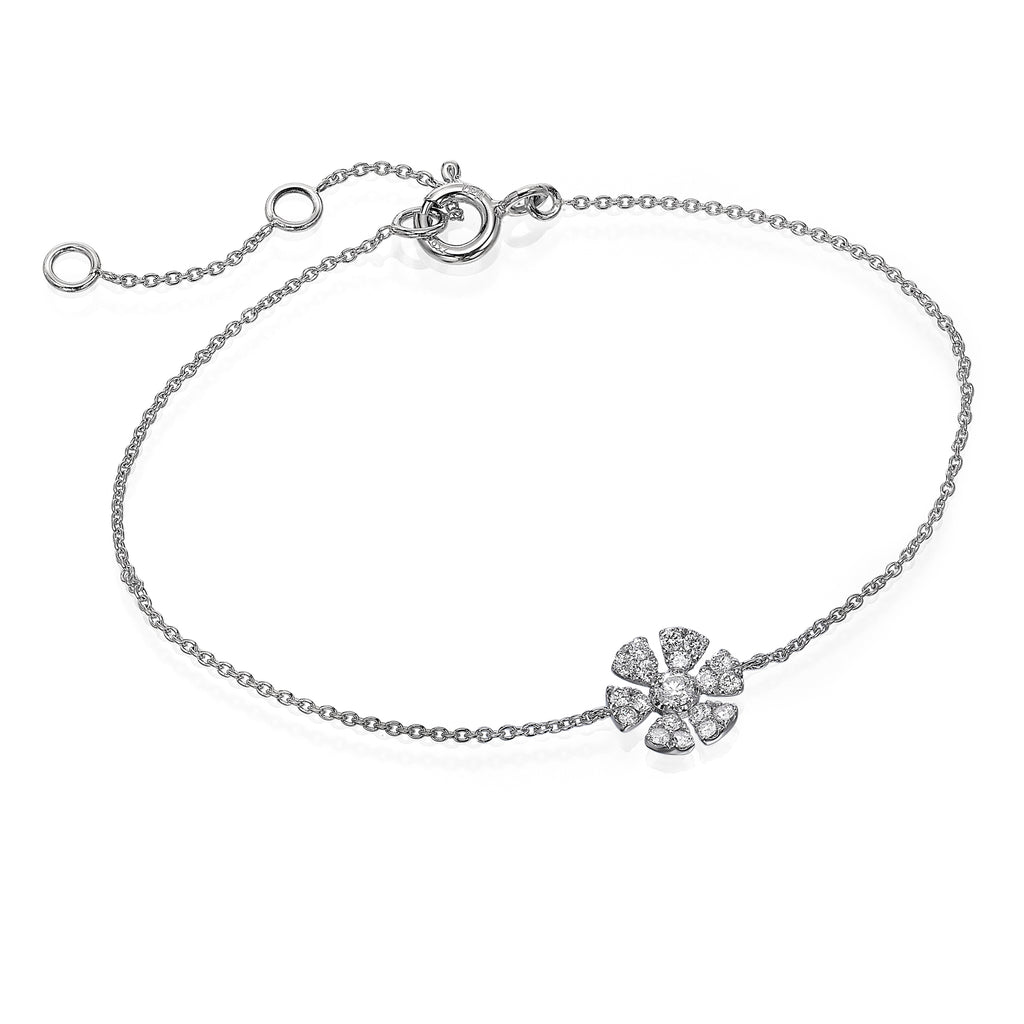 Diamond Flower Bracelet 18K White Gold