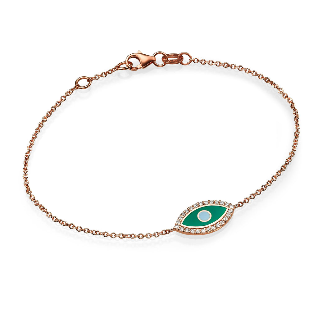 diamond enamel evil eye gold bracelet