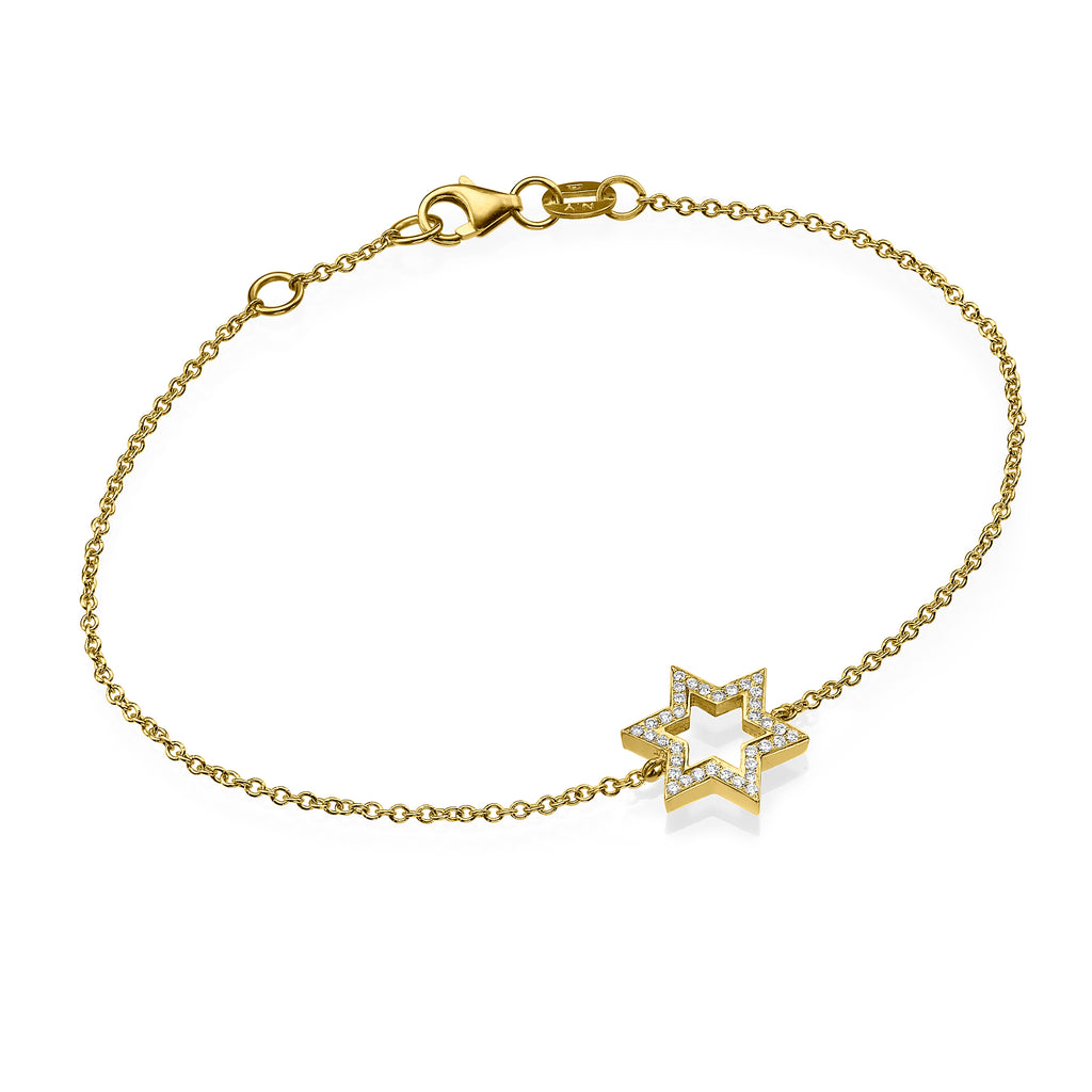 Yellow gold diamond david star bracelet