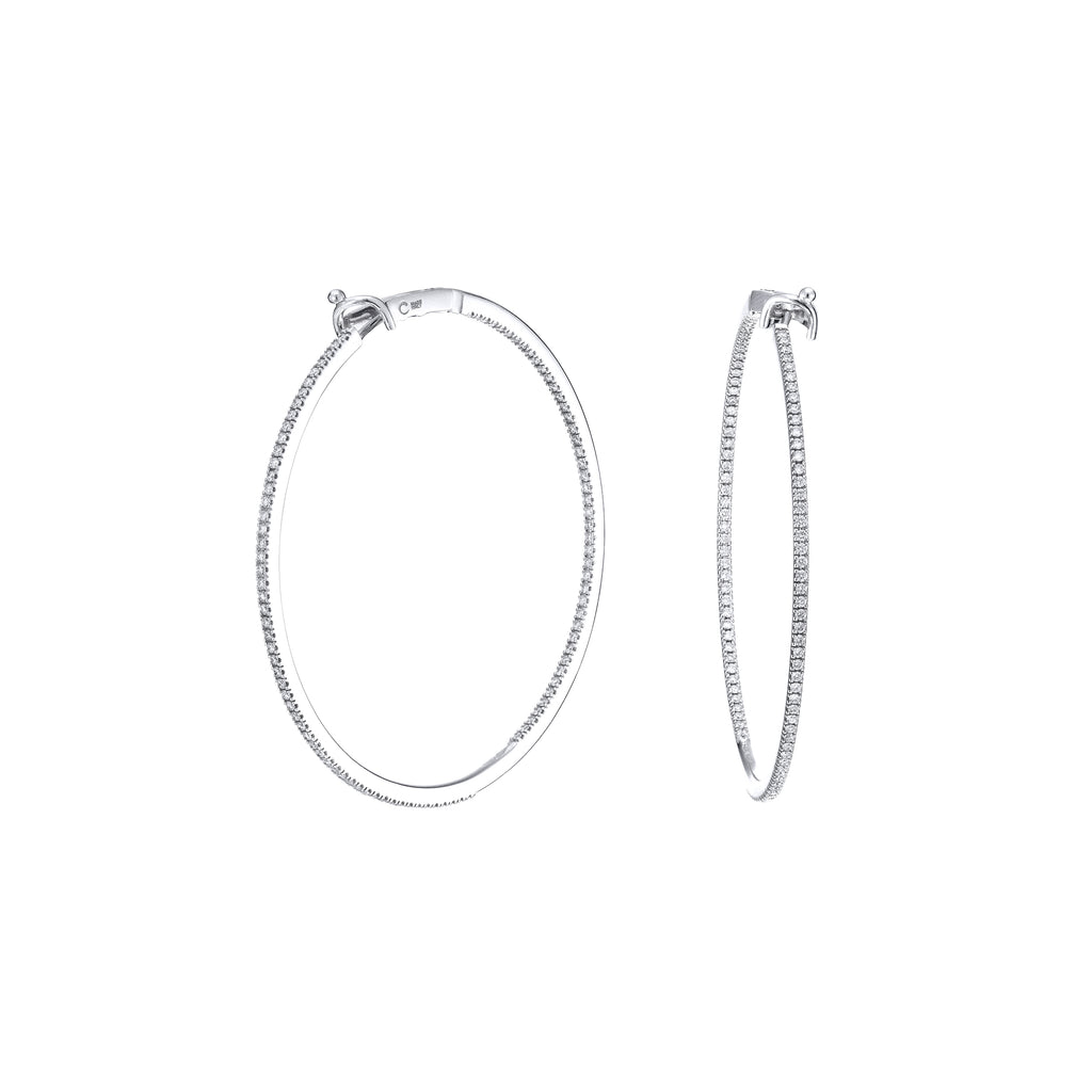 Large Diamond Hoops 18K white gold