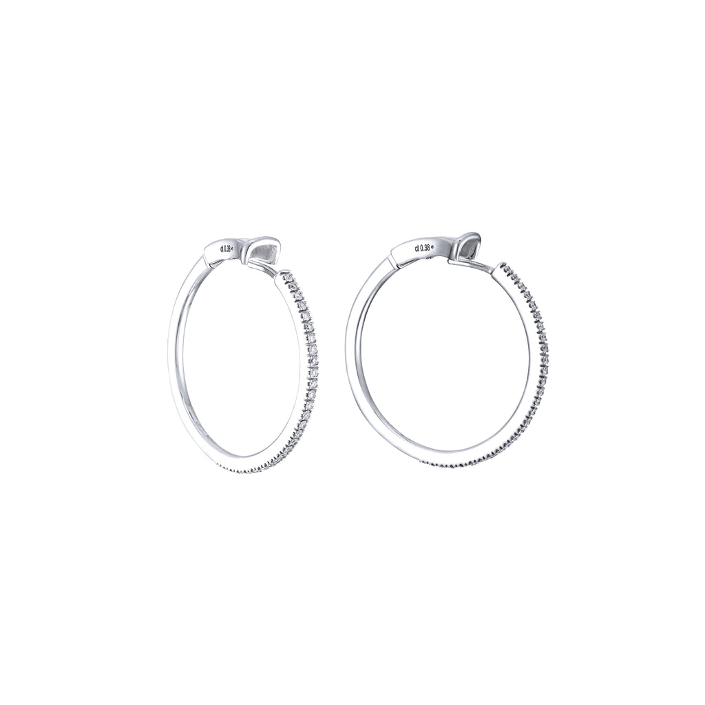 Medium Diamond Hoops white gold 18K