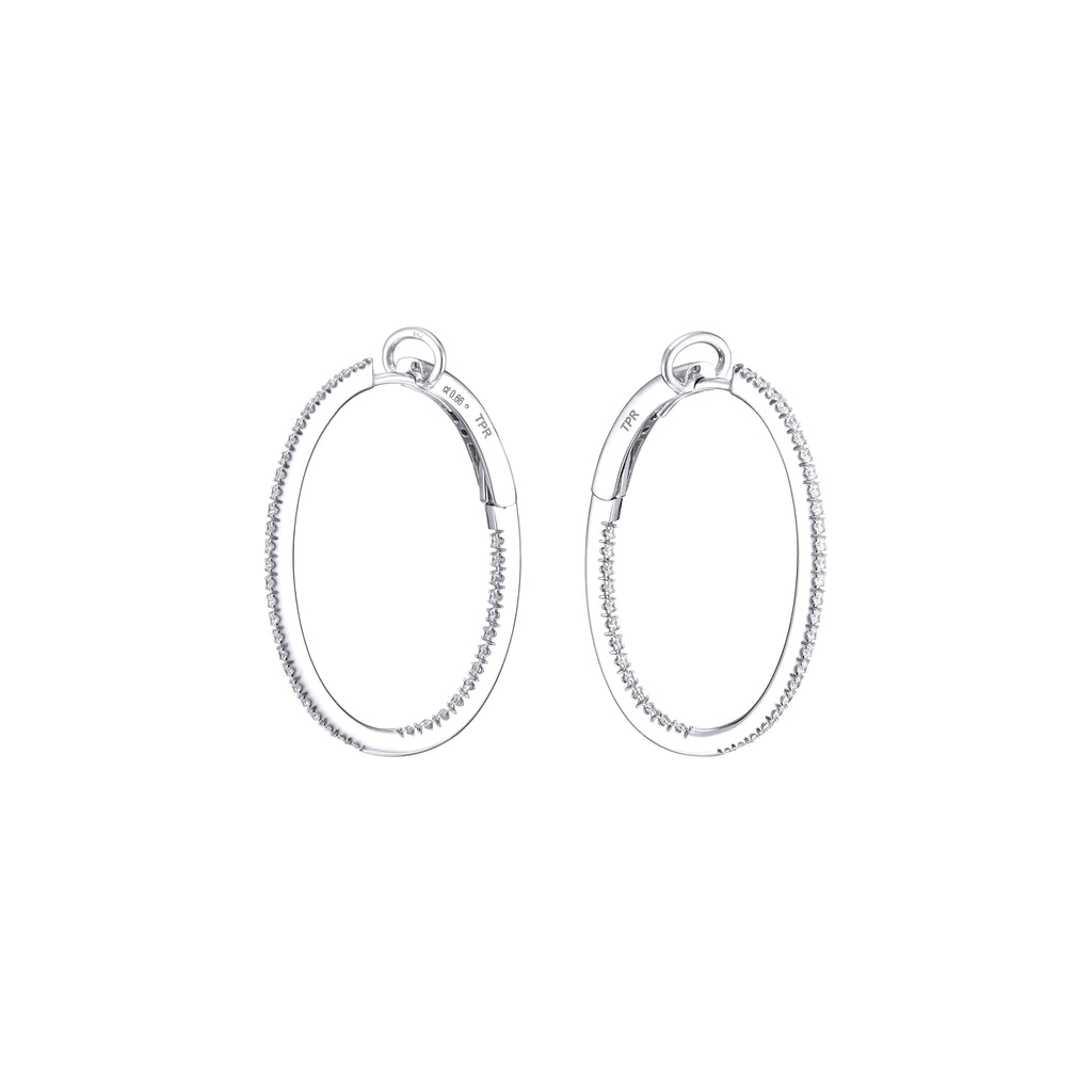 Diamond Oval Hoops 18K white gold