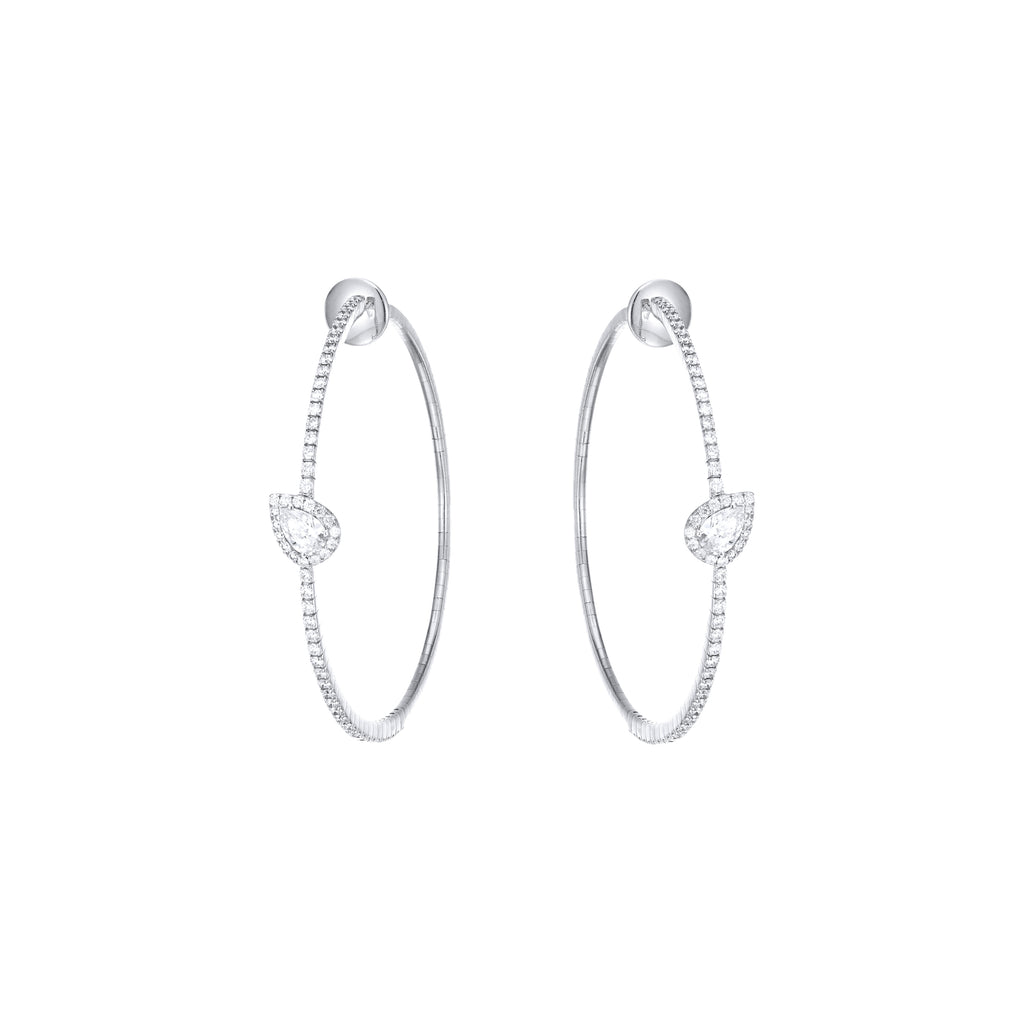 Diamond Pear Shape Halo Hoops white gold 18K