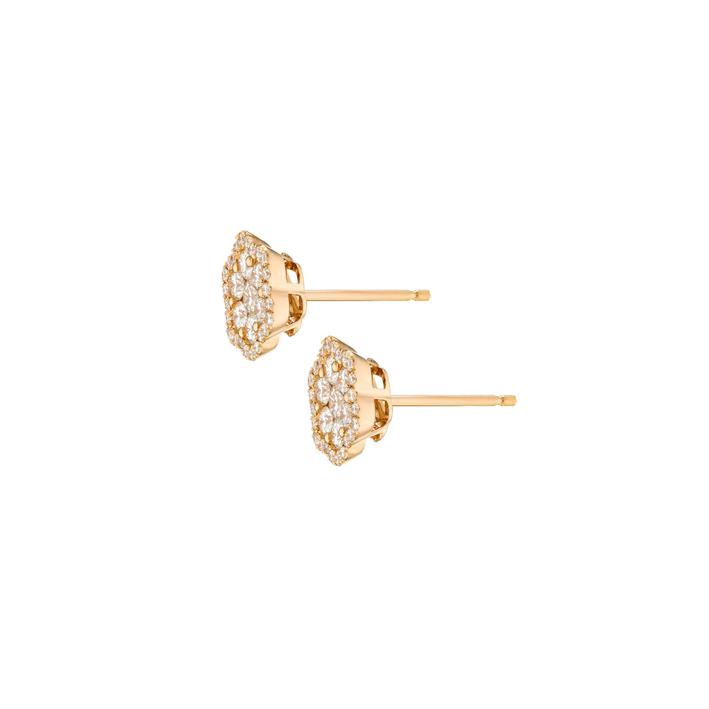 Diamond Pave Flower Earrings rose gold 18K with pin