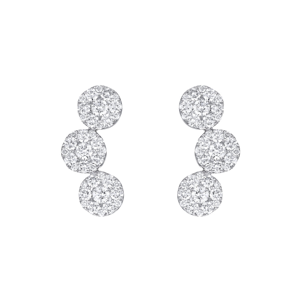 Diamond Circle's Trio Earrings 18K white gold